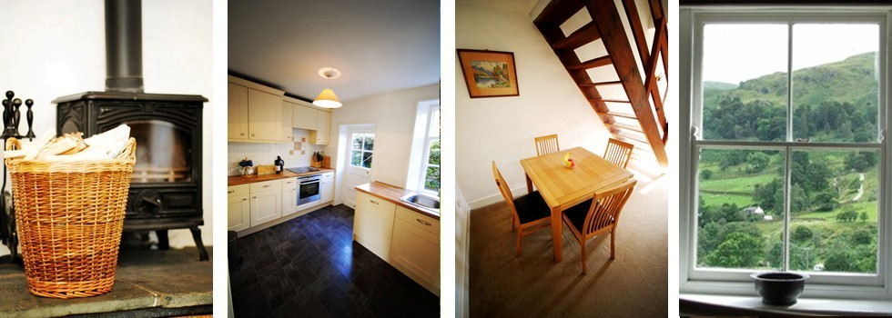 2 Helvellyn Cottage Photos - Woodburner - Kitchen - Dining Table - Window View